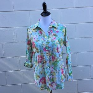 Uncommon Threads J. Jill floral button down top S